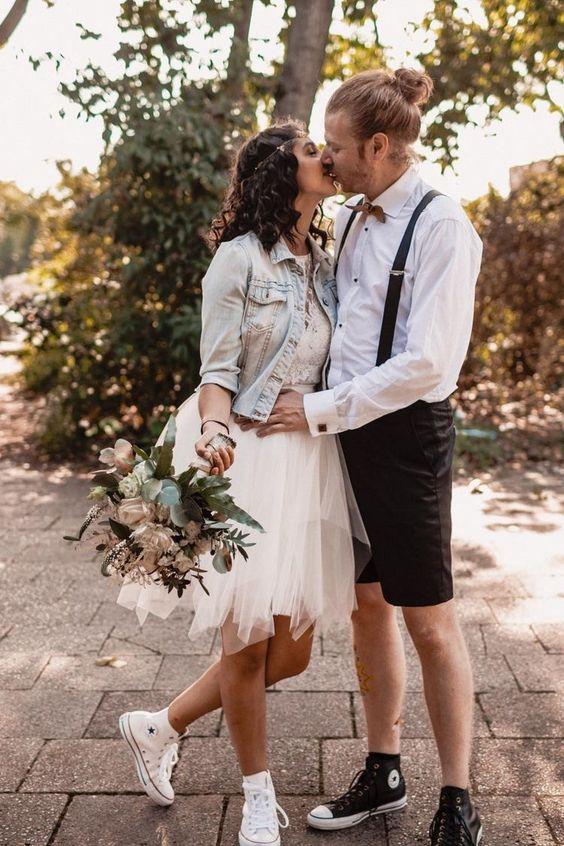 veste en jean mariage