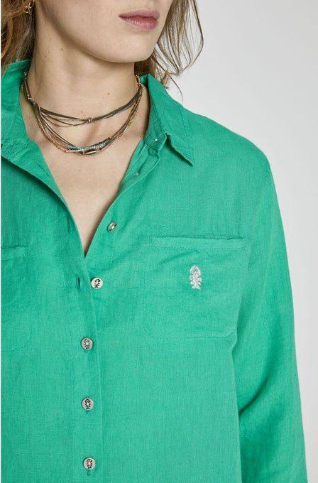 chemise en lin verte