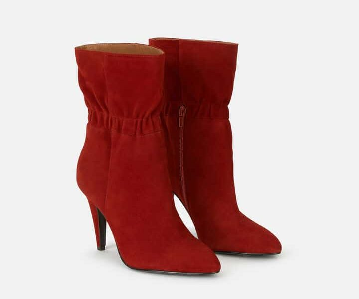 bottines rouge en daim tendance